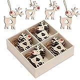 Valery Madelyn Adornos del árbol de Navidad de Madera, 24pcs 2.4in/6.2cm Decoración de Navidad, Colgantes Renos, Cuerda Pre Atado (Bosque)