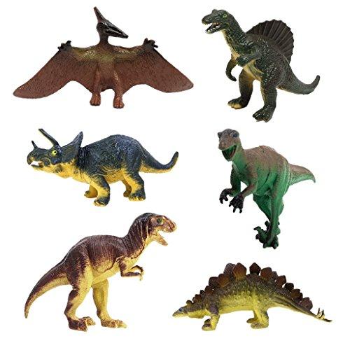 JZK 6 Conjunto Surtido Dinosaurio de Juguete Figuras Triceratops pterodáctilo estegosaurio Allosaurus tirano-saurio Rex, Juego Portátil para Niños Regalo de Cumpleaños para Niños Niñas Niños