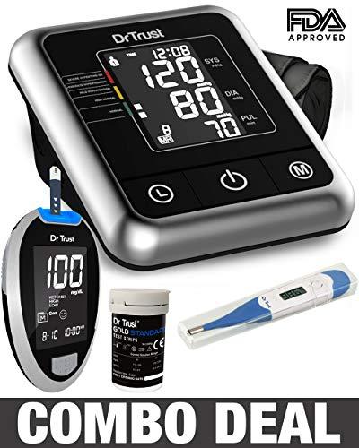 Dr Trust Electric Digital Blood Pressure Machine + Glucose Blood Sugar Testing Glucometer Monitor with 10 Strips(Black)