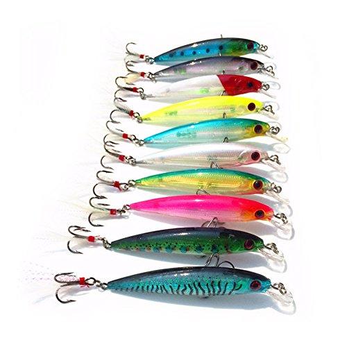 ZREAL 10 Pezzi Fishing Lure Minnow Wobblers Bait Tackle Artificial Esche Crankbait con la Piuma Ganci 9 cm