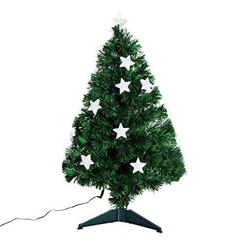 homcom Albero di Natale 90cm con 90 Rami in PVC e Fibra Ottica con 12 LED