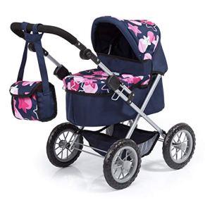 Bayer Design- Cochecito Trendy con Bolsa, Ajustable, Carrito de muñeca, Color Azul, Rosa con un Moderno diseño de…