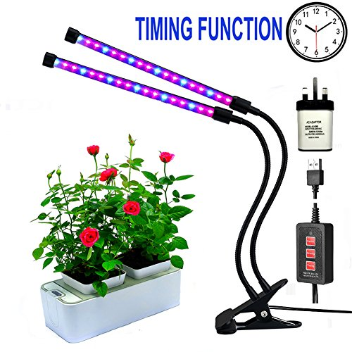 Led grow lights for indoor plants,RINBO 12W Plant grow lights, 36LEDs Artificial Dual Head plant lamp, 3 Modes Timer(3H/6H/12H), Dimmable 5 Levels, 24 Red and 12 Blue ELDs, 360 Degree Adjustable Flexible Gooseneck, for office/house/Gardening/Hydroponic/Aquatic growing plants,vegetable,Flower,Seedling?Upgrade Timer Version?