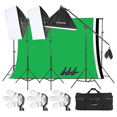 Andoer Softbox Fotografia Illuminazione Kit,Set di Montaggio per Foto in Studio Fotografico...