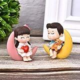 Oulensy 2pcs / Set Nueva ArrivalMoon Pareja PVC románticos Figuras artesanales Adornos Decorativos para Bonsai Inicio decoración de la Tabla