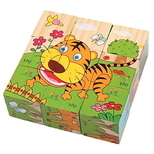 PROW 6 in 1 Puzzle cubetti in legno jigsaw 9 pezzi Hedgehog Elephant Tiger Deer Scimmia Zebra...