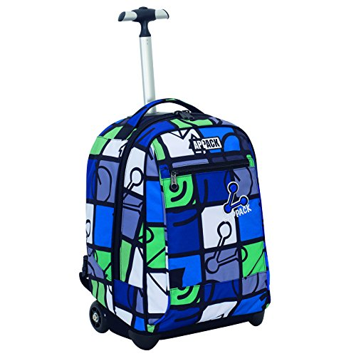 Big Trolley Appack , ICON SET- Blu Verde , 35 Lt , 2in1 Zaino con spallacci a scomparsa , Scuola &...