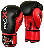Maxx boxing gloves Junior kids & adult sizes Rex leather 4oz - 16oz martial arts glove (14 OZ)