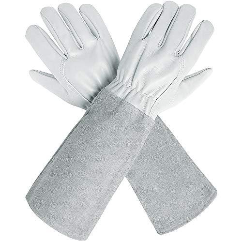 Ccbetter, guanti da potatura con maniche extra lunghe in pelle bovina per uomini e donne, a prova di...