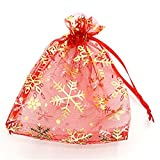 Sacchetto di organza sacchetti con fiocco di neve Natale regalo sacchetto saeckli 13x 16cm