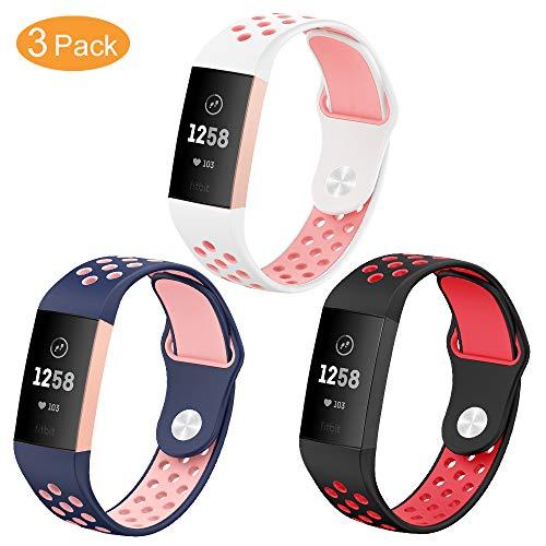 TesRank Compatible Cinturino per Fitbit Charge 3 Cinturino, Cinturino di Ricambio in Silicone Morbido per Fitbit Charge 3