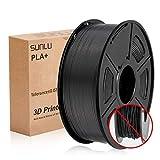 Filamento PLA Plus de la impresora SUNLU 3D, filamento PLA de 1.75 mm, filamento de impresión 3D de bajo olor, precisión dimensional +/- 0.02 mm, filamento 3D del carrete 3D, negro PLA +