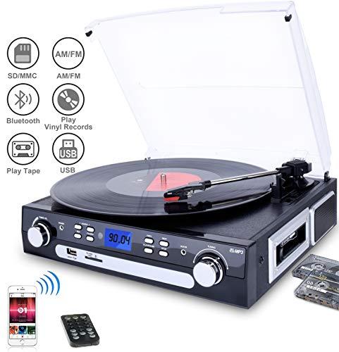 DIGITNOW! Tourne-Disque Bluetooth, Platine Vinyle 33/45/78 tr/min avec haut-parleurs intégrés, encodage du vinyle au MP3, encodage SD/USB, radio, cassette, entrée auxiliaire