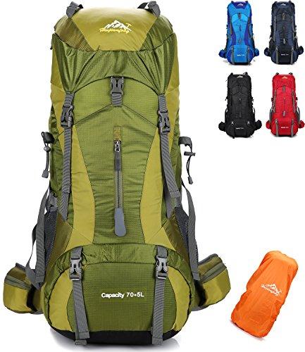 onyorhan 70L+5L Mochila Viaje Trekking Excursionismo Senderismo Alpinismo Escalada Camping Hombre Mujer (Verde)