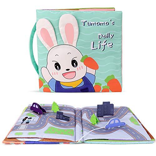 TUMAMA Libri di Stoffa Baby,Libro attività Giocattolo per Neonati Abbigliamento Libro Morbido...