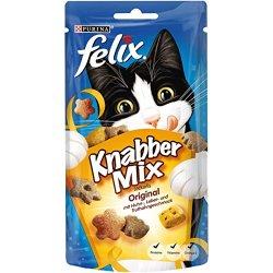 katzeninfo24.de Felix 12183553 KnabberMix Original mit Huhn-, Leber- und Truthahngeschmack, Katzenleckerlies, 8er Pack (8×60 g Beutel)
