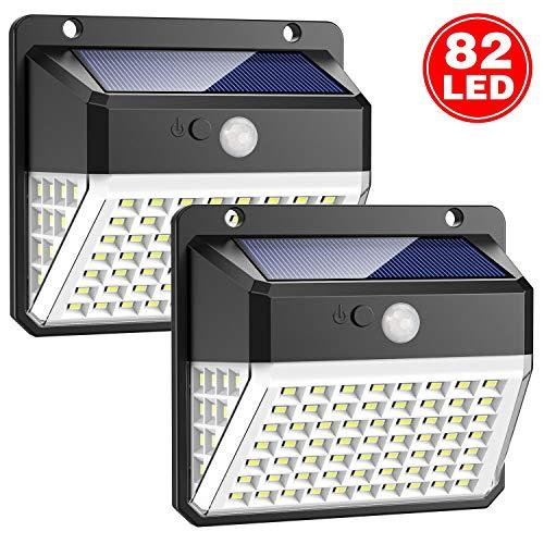 Luce Solare Esterno, Trswyop 82 LED Lampada Solare con Sensore di Movimento 2000mAh Illuminazione...