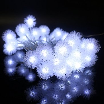 Guirlande lumineuse LED avec 30 Boules de Neige 6M imperméable 8 modes Secteur Prise Européen Intérieur Extérieur, Jardin, Fête, Décoration Noël, Mariage, Nouvel An, Soirées, Chambres (Blanc Froid)