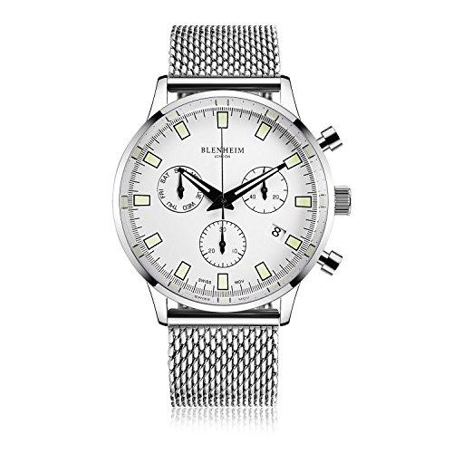Blenheim London Chronomaster quadrante bianco Pilot orologio con cinturino in acciaio INOX