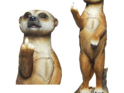 holz und gartentrends meerkat (e) character (mittelfinger) meerkat sculpture garden  ornament-various models in my store - weatherproof garden gnome decorative  poly stone