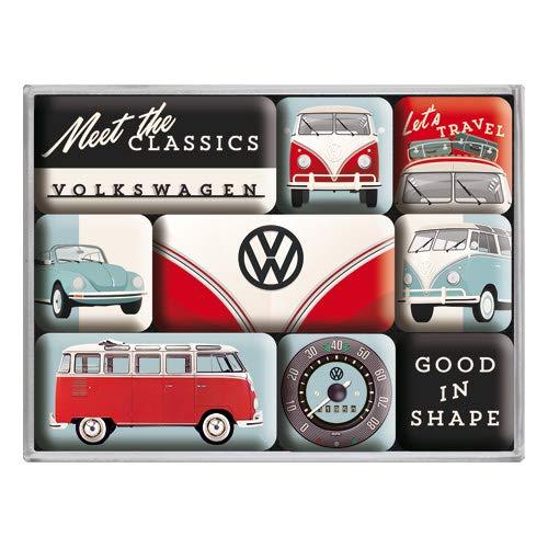 Nostalgic-Art 83107 - Volkswagen - VW Bulli & Beetle - Meet The Classics , Retro Magnet-Set (9teilig) , Kühlschrank-Magnete , Vintage\nvon Nostalgic-Art