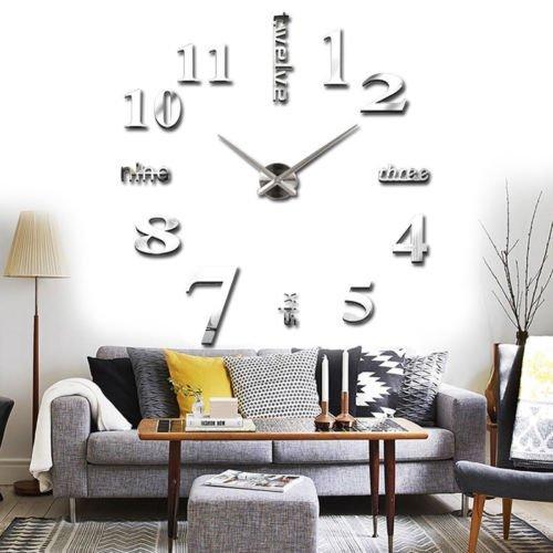 Yosoo Orologio da Parete Silenzioso Wall Sticker orologio digitale adesivi Wall Clock DIY 3D Moderno Adesivo Orologio Parete decorativo per Casa Ufficio Hotel Ristorante Ottimo Regalo