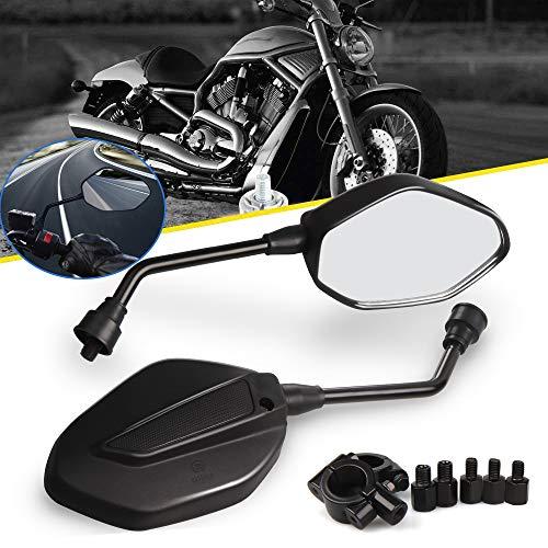 Aolead Motorrad Spiegel Rückspiegel 8mm/10mm Lenkerendenspiegel ABS Universal Spiegel für Motorrad Sport Bike Scooter Choppers Cruiser Schwarz 1