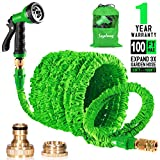 Suplong 100ft Expanding Garden Hose Pipe Expandable Magic Water Hose With 8 Function Spray Gun/Hose Storage Bag for Garden Watering, Washing - 1 Year Warranty