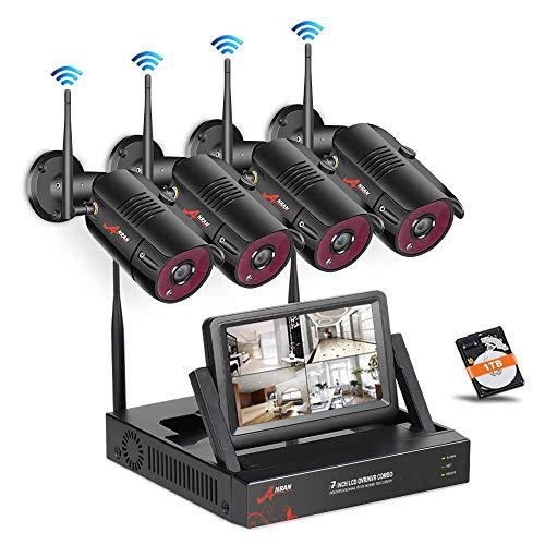Kit Videosorveglianza IP, SWINWAY Kit 4 Telecamere Wireless, 1080P HD Kit Telecamera Esterno, Visione Notturna, Controllo Remoto, HDD 1TB