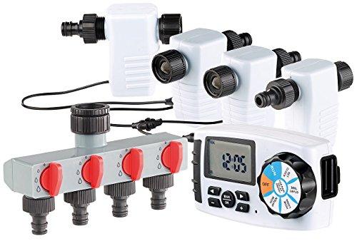 Royal Gardineer Bewässerungssystem: Bewässerungscomputer BWC-400 mit 4 Schlauch-Anschlüssen (Bewässerungscomputer 4 Ausgänge)