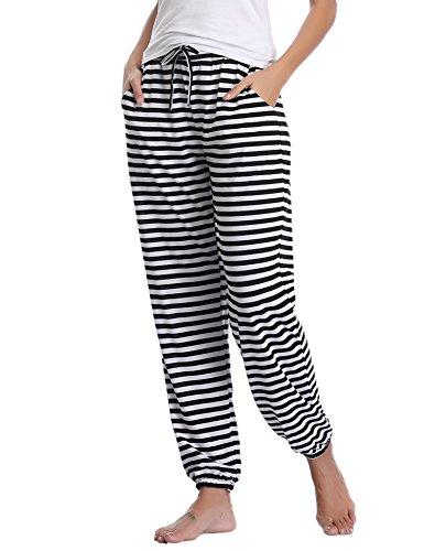 Aibrou Damen Modal Lässige Gestrickte Schlafanzughose Pyjamahose Schwarz& Weiß L