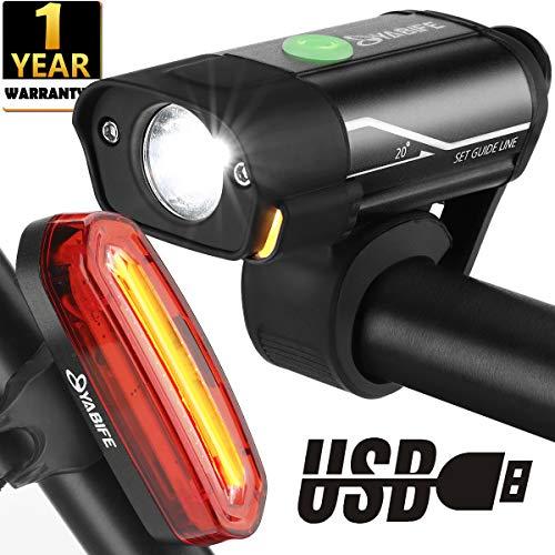 Luci Bicicletta LED Ricaricabili USB, Luci Bici 350 Lumen Anteriore e 120 Lumen Posteriore...