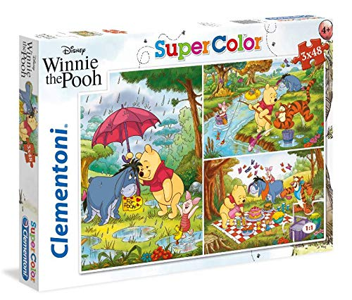 Clementoni-Clementoni-25232-Supercolor Puzzle-Winnie The Pooh-3x48 Pezzi-Disney, Multicolore, 25232