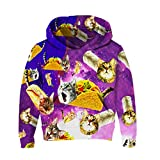 RAISEVERN Kids Chic Hoodies 3D Pizza Gatos Impreso Sudadera de Manga Larga Pullover para niños y niñas Holiday Wear 138