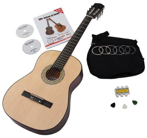 Set de guitarra acústica 7/8 para principiantes con funda, cuerdas, libro de método púas y afinador