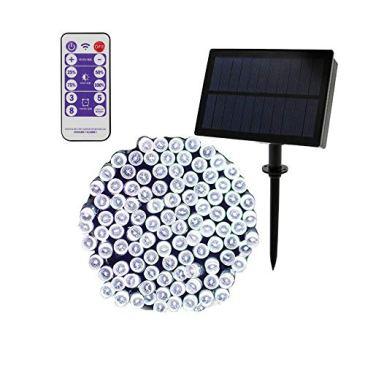 AVEKI Guirlande lumineuse solaire 100 LED étanche avec 8 modes d'éclairage et télécommande pour jardin, jardin, terrasse, décoration de Noël