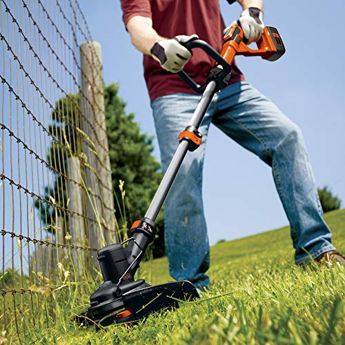 The Black + Decker 36v Cordless Strimmer includes a 2.0 Ah Battery and charger and is a great investment for those seeking a versatile tool for all kinds of garden maintenance, from trimming excess grass growing around a fence, wall or pathway. Graced with E-Drive technology, the cordless strimmer has a high torque gear system that delivers super-fast cutting speeds of up to 8,500 rpm. This kind of speed ensures your job gets done much quicker regardless of how demanding it is.