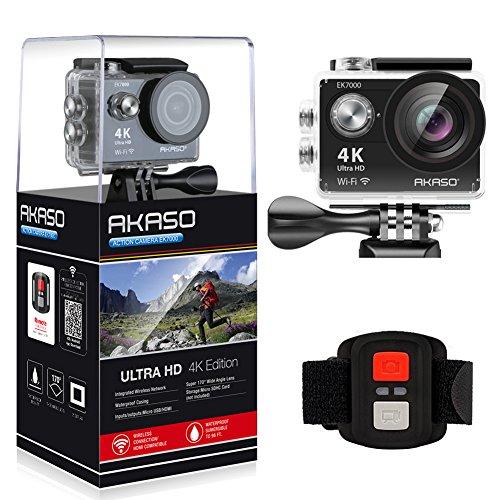 AKASO Action Cam,4K WIFI Action Kamera /Unterwasserkamera 170°Ultra Weitwinkel Full HD Sportcamera mit 12MP 2 Zoll LCD Bildschirm 2.4G Fernbedienung