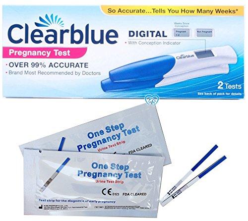 Prueba de embarazo Clearblue DIGITAL con indicador de concepción, para ver desde cuanto tiempo se esta embarazada (2 tests + 2 Pruebas de Embarazo ultrasensible in-vitro de 10 mlU/ml oneStep de HomeHealth-UK para la deteccion precoz del embarazo)
