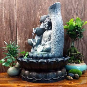 SPYXGS Artesanías del Sudeste Asiático Modelos Creativos Estatua De Buda Resina Agua Adornos Agua Paisaje Reclutar Propiedad Fuente 8