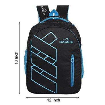 Sassie Polyester 41 L Black Blue School and Laptop Bag with 3 Large Compartments 8