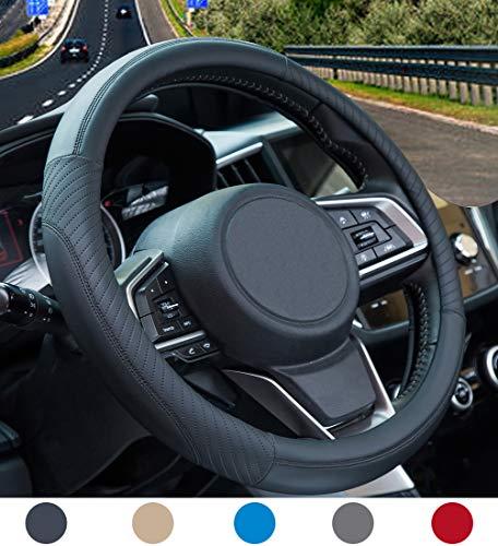 Auto Lenkradbezug - Lenkradbezug Leder, Mikrofaser Lenkradbezug Universal Size 37-38cm, Weiche, rutschfest, Atmungsaktiv, Schwarz