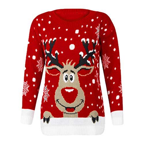 T-Shirt Natalizia per Le Donne - Aggiornamento di Natale da Donna Elk Stampa Tops Donna a Maniche Lunghe Crew Collo Sciolto Sweatshirt(Rosso,XL)