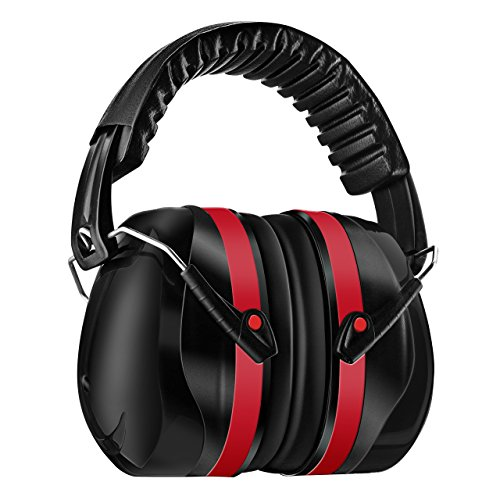 Homitt Orejeras Protectores Auditivos Defensores del oído con tecnología de cancelación de ruido para el rodaje, la caza, el trabajo o la construcción - Rojo y Negro