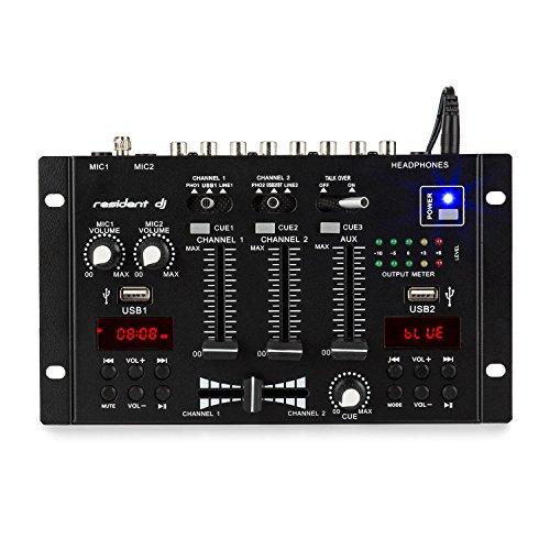 resident DJ DJ-22 BT Mesa de Mezclas de 2/3 Canales • Bluetooth • 2 USB • 3 Jack 6,3 mm • 2 Pantallas • Chasis Metálico • Terminales Altavoz • Compacta • Efectos • Negro