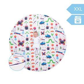 Manta de juegos para bebes XXL 160 cm plegable grande para gatear acolchada gimnasio suelo actividades alfombra…