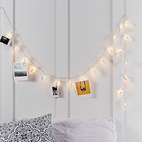 Lights4fun Catena di Luci a Pile con 10 LED Bianco Caldo con Mollette
