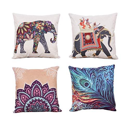 YUMU CASA, Set di 4 federe copricuscino Decorative in Stile thailandese, Motivo Elefante colorato,...