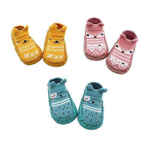 Z-Chen Calzini Scarpe Antiscivolo - Bambini e Neonati - Confezione da 3 Paia, Giallo + Rosa + Blu, 12-18 Mesi