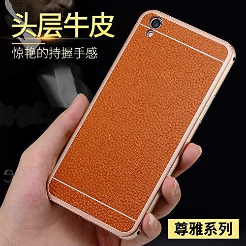 SCSY-Cas de la mode étui de Protection arrière Coque en Cuir véritable téléphone Coque Coque pour Oppo r9 Plus (Color : Brown) 5